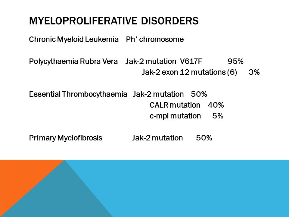 MYELOPROLIFERATIVE DISORDERS Chronic Myeloid Leukemia Ph' chromosome Polycythaemia Rubra Vera Jak-2 mutation V617F 95% Jak-2 exon 12 mutations (6) 3% Essential Thrombocythaemia Jak-2 mutation 50% CALR mutation 40% c-mpl mutation 5% Primary Myelofibrosis Jak-2 mutation 50%