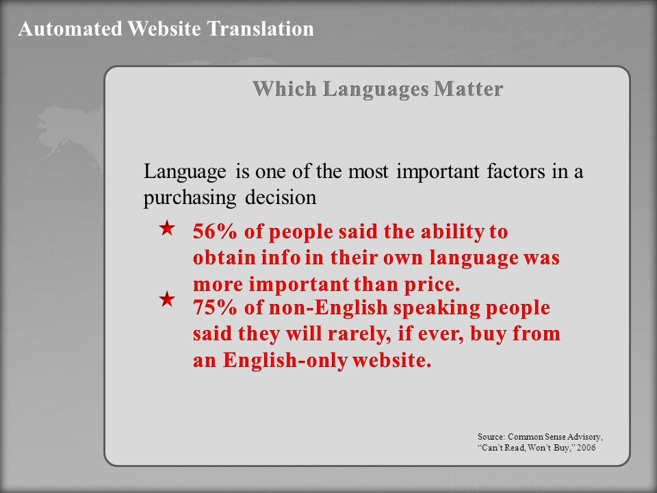 Automated Website Translation Source: Common Sense Advisory, Can't Read, Won't Buy, 2006 Language is one of the most important factors in a purchasing decision