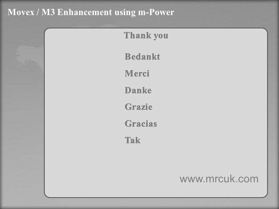 Movex / M3 Enhancement using m-Power www.mrcuk.com