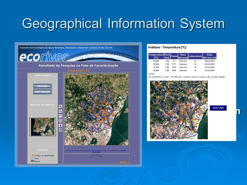 Geographical Information System  Field data: Storage Storage Treatment Treatment Analysis Analysis  Georeferenciation  Web sharing