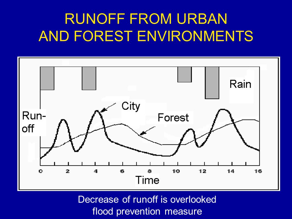 RUNOFF FROM URBAN AND FOREST ENVIRONMENTS Decrease of runoff is overlooked flood prevention measure