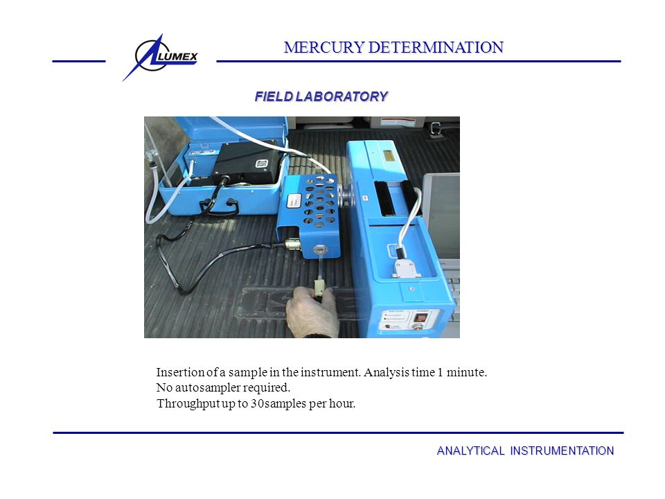 MERCURY DETERMINATION with RA-915 + ANALYTICAL INSTRUMENTATION MERCURY DETERMINATION with RA-915 + Multifunctional mercury spectrometer Due to the low power consumption (15 W) and low weight (16 Lb.