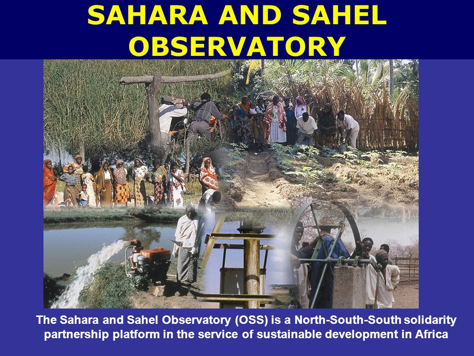 The Sahara and Sahel Observatory (OSS) is a North-South-South solidarity partnership platform in the service of sustainable development in Africa SAHARA AND SAHEL OBSERVATORY