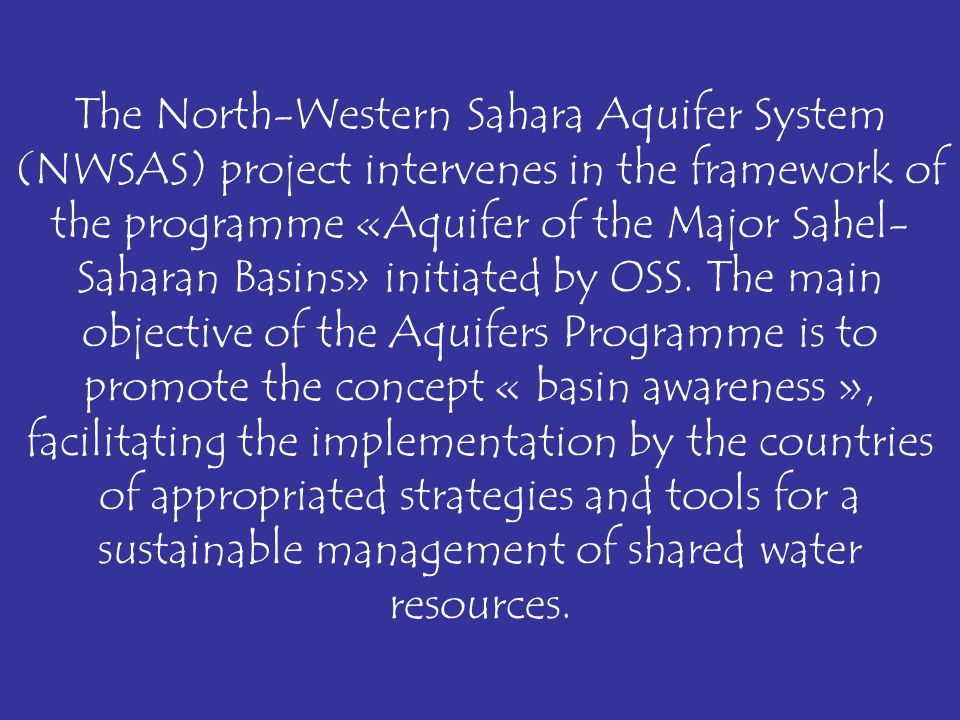 SAHEL-SAHARAN Great Basins Aquifers