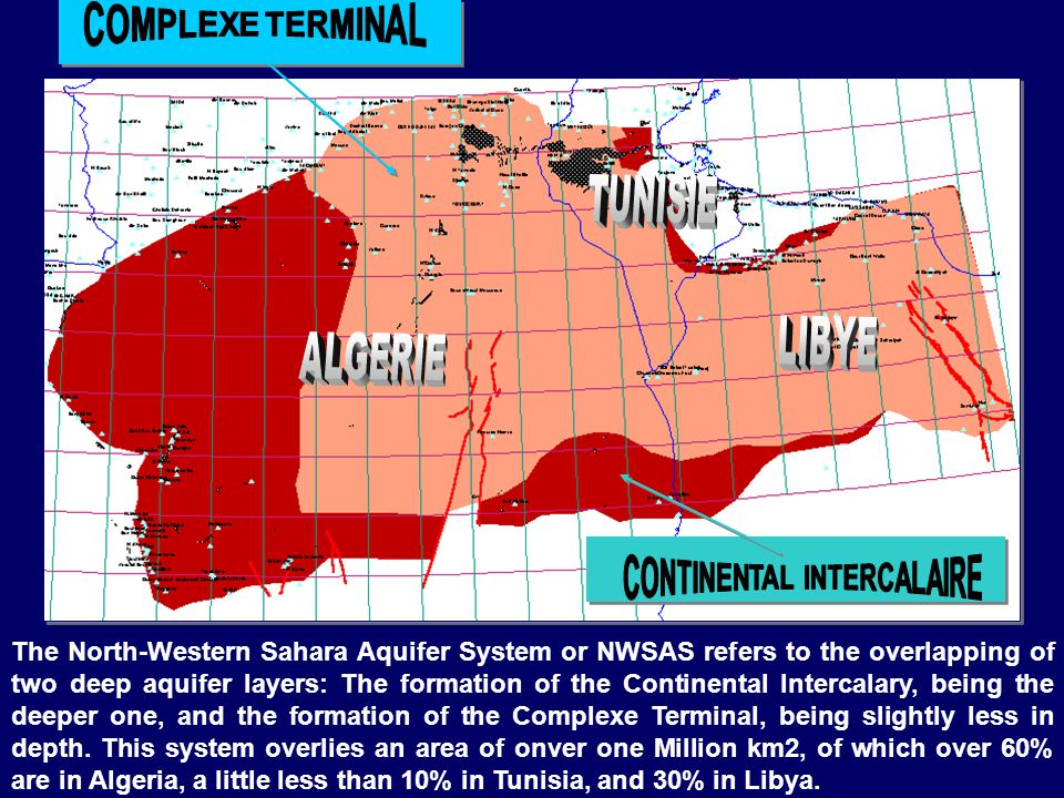 The North-Western Sahara Aquifer System or NWSAS refers to the overlapping of two deep aquifer layers: The formation of the Continental Intercalary, being the deeper one, and the formation of the Complexe Terminal, being slightly less in depth.