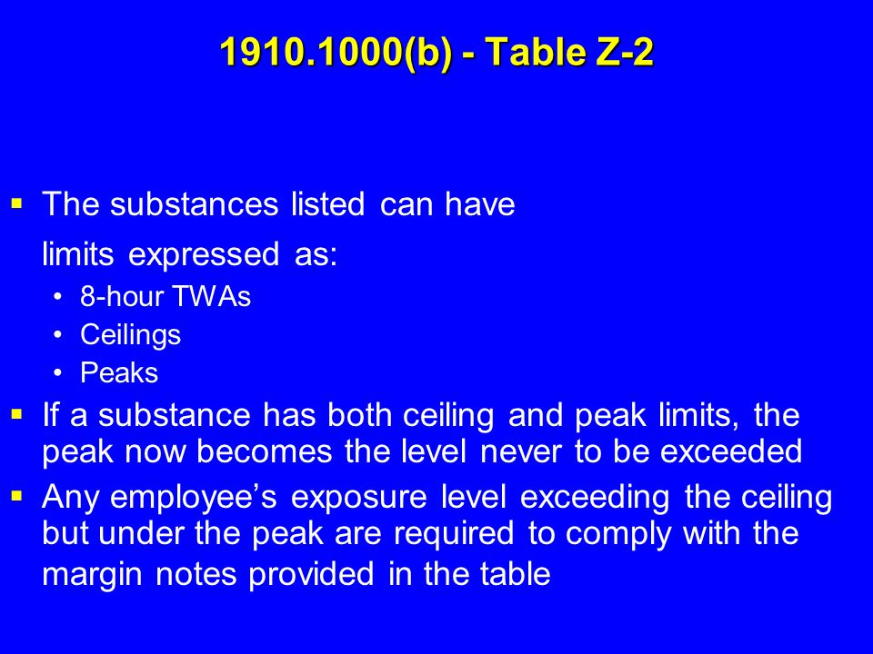 1910.1000(b) - Table Z-2  The substances listed can have limits expressed as: 8-hour TWAs Ceilings Peaks  If a substance has both ceiling and peak l