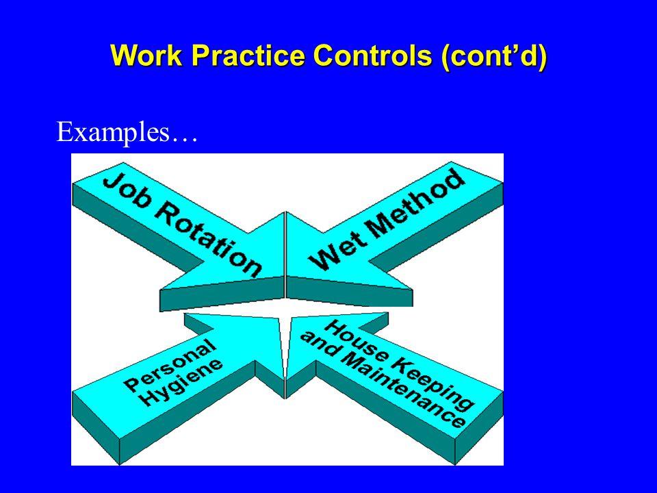 Work Practice Controls (cont'd) Examples…