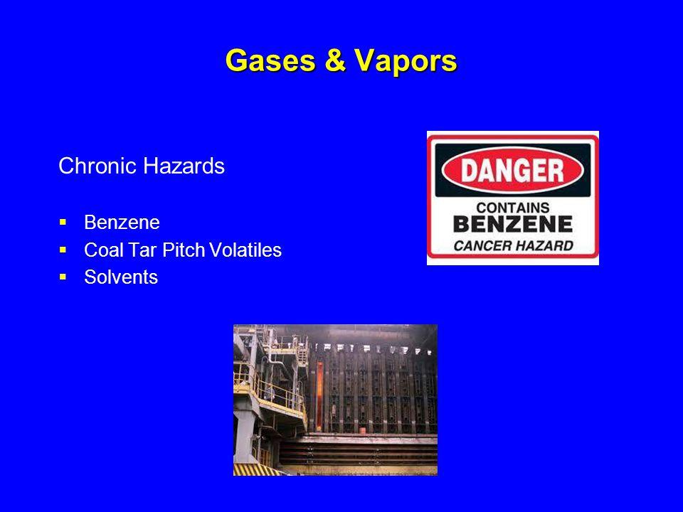 Gases & Vapors Chronic Hazards  Benzene  Coal Tar Pitch Volatiles  Solvents