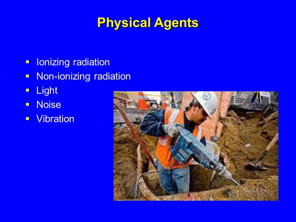 Physical Agents  Ionizing radiation  Non-ionizing radiation  Light  Noise  Vibration