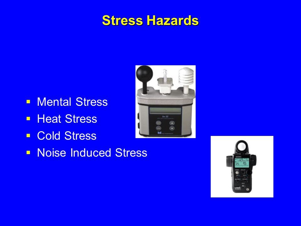 Stress Hazards  Mental Stress  Heat Stress  Cold Stress  Noise Induced Stress