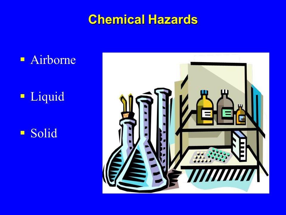 Chemical Hazards  Airborne  Liquid  Solid