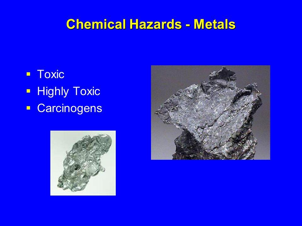 Toxic Metals Toxic Metal Fumes Antimony, beryllium, cadmium, chromium, cobalt, copper, iron, lead, manganese, molybdenum, nickel, vanadium, and zinc.