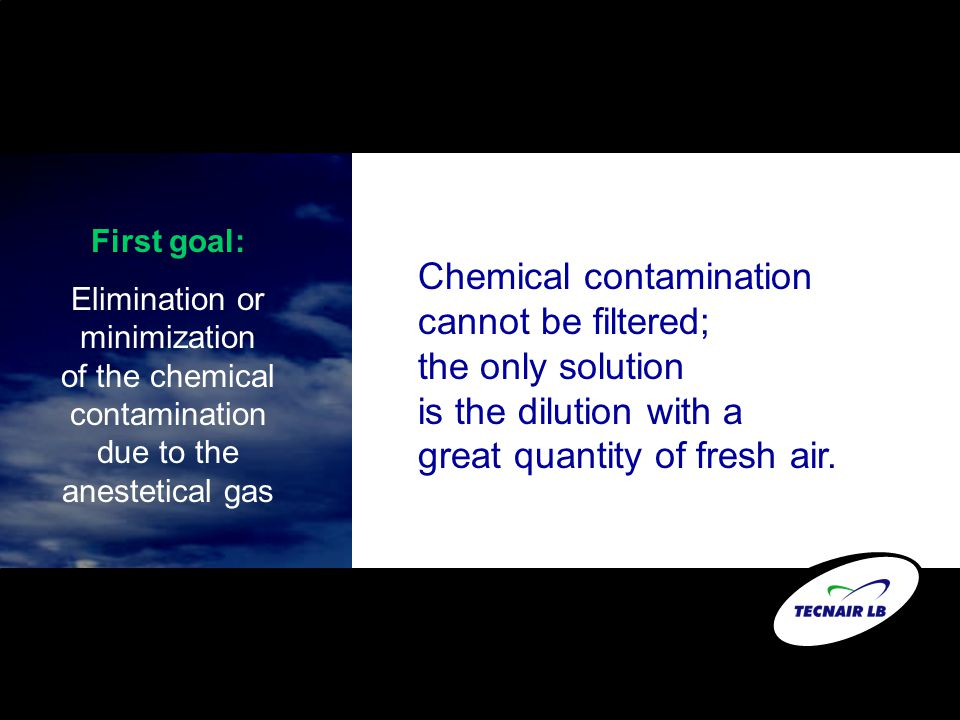 Chemical contamination cannot be filtered; the only solution is the dilution with a great quantity of fresh air. First goal: Elimination or minimizati