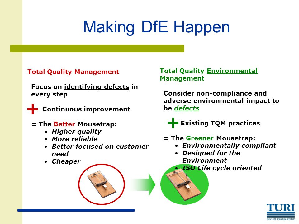 Making DfE Happen Total Quality Management Focus on identifying defects in every step Continuous improvement = The Better Mousetrap: Higher quality More reliable Better focused on customer need Cheaper Total Quality Environmental Management Consider non-compliance and adverse environmental impact to be defects Existing TQM practices = The Greener Mousetrap: Environmentally compliant Designed for the Environment ISO Life cycle oriented