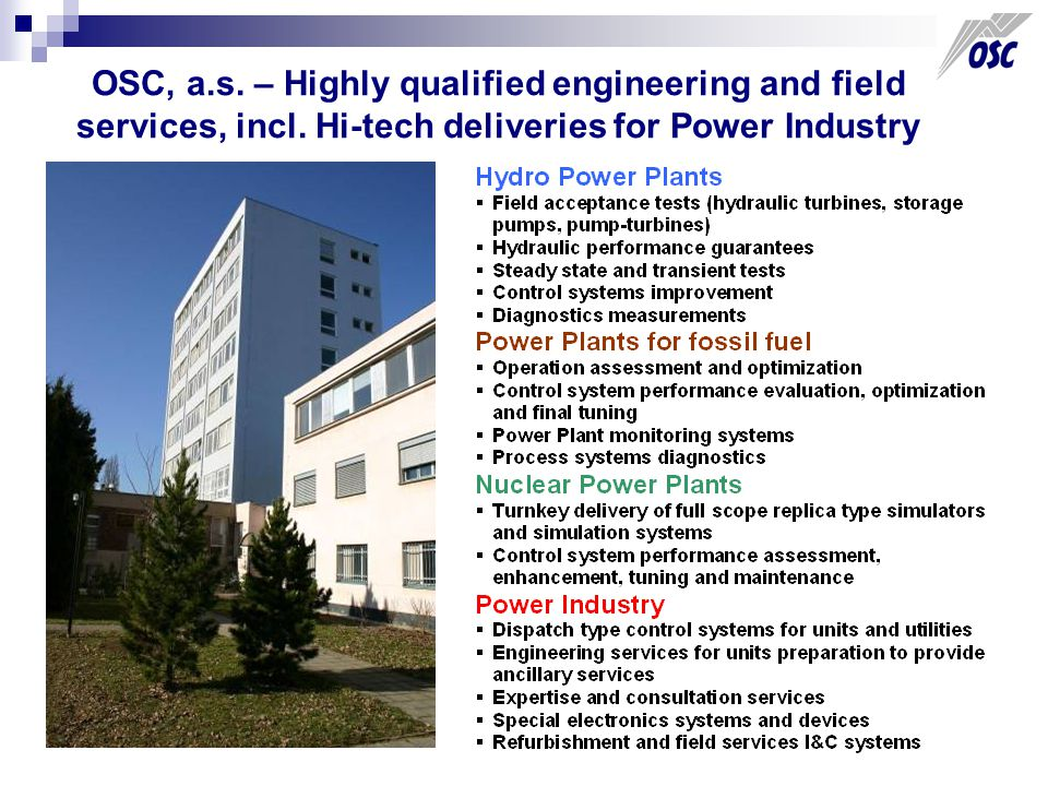OSC, a.s. – Highly qualified engineering and field services, incl.
