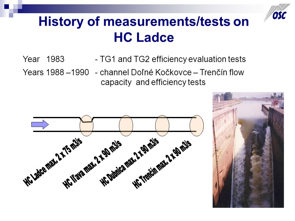 History of measurements/tests on HC Ladce Year 1983 - TG1 and TG2 efficiency evaluation tests Years 1988 –1990 - channel Doľné Kočkovce – Trenčín flow capacity and efficiency tests