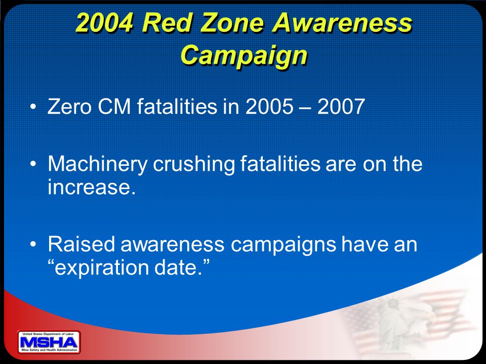 2004 Red Zone Awareness Campaign Zero CM fatalities in 2005 – 2007 Machinery crushing fatalities are on the increase.