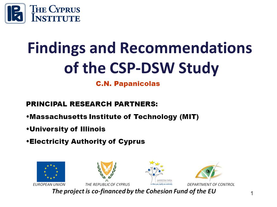 1 Findings and Recommendations of the CSP-DSW Study C.N.