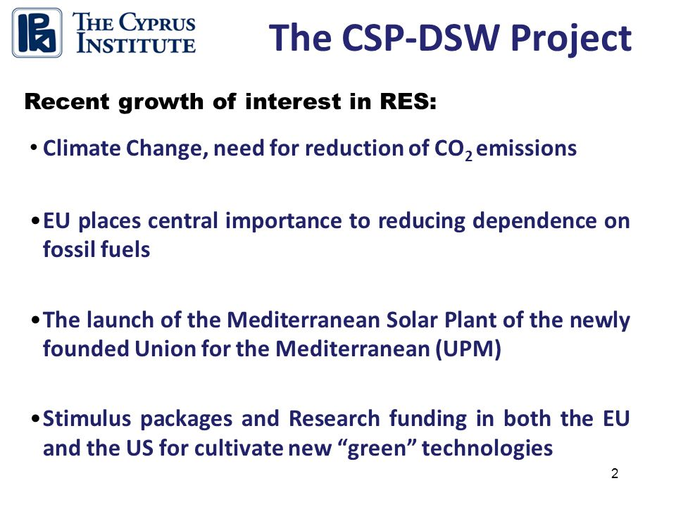 3 The Study Focused on: The CSP-DSW Project An examination of current technologies for Desalination and Electricity Production using Concentrated Solar Power.