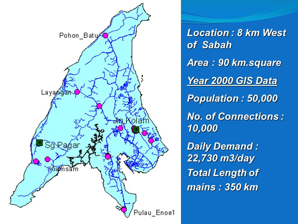 4/17/2015 Location : 8 km West of Sabah Area : 90 km.square Year 2000 GIS Data Population : 50,000 No.
