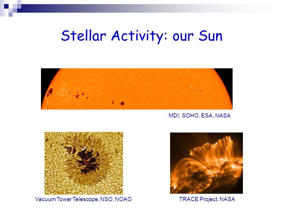 Stellar Activity: our Sun MDI, SOHO, ESA, NASA TRACE Project, NASA Vacuum Tower Telescope, NSO, NOAO