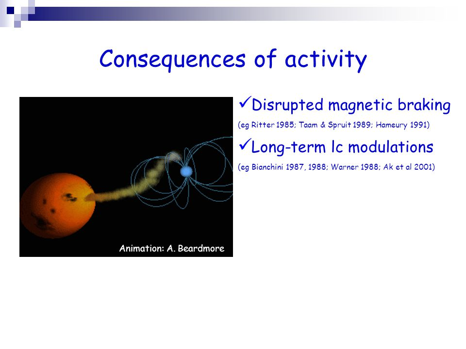 Consequences of activity Animation: A. Beardmore Disrupted magnetic braking (eg Ritter 1985; Taam & Spruit 1989; Hameury 1991) Long-term lc modulation