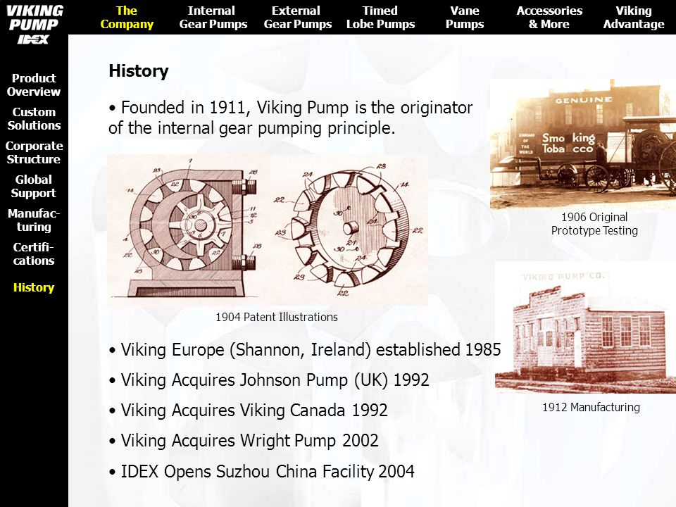 Founded in 1911, Viking Pump is the originator of the internal gear pumping principle. Viking Europe (Shannon, Ireland) established 1985 Viking Acquir