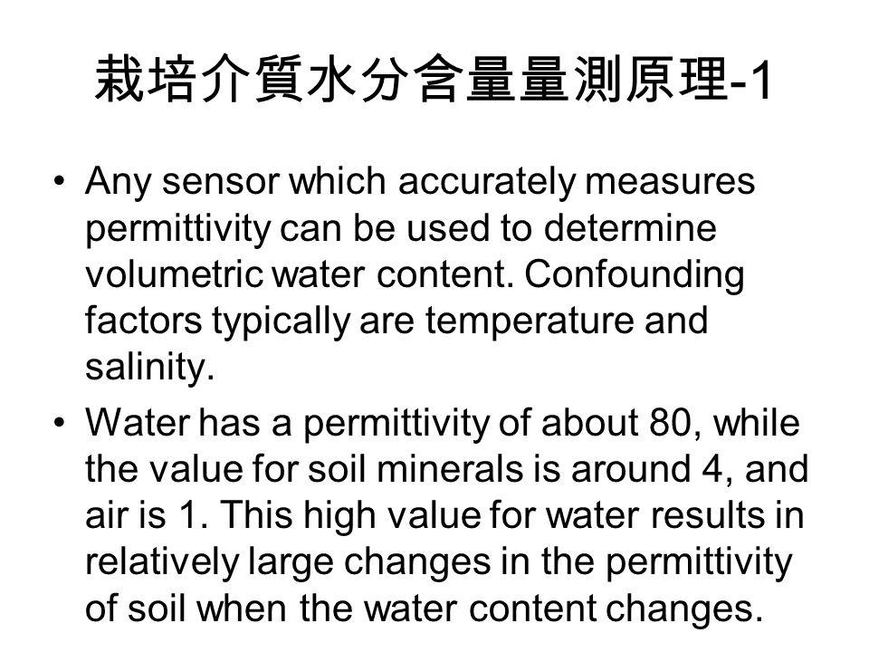 栽培介質水分含量量測原理 -1 Any sensor which accurately measures permittivity can be used to determine volumetric water content.