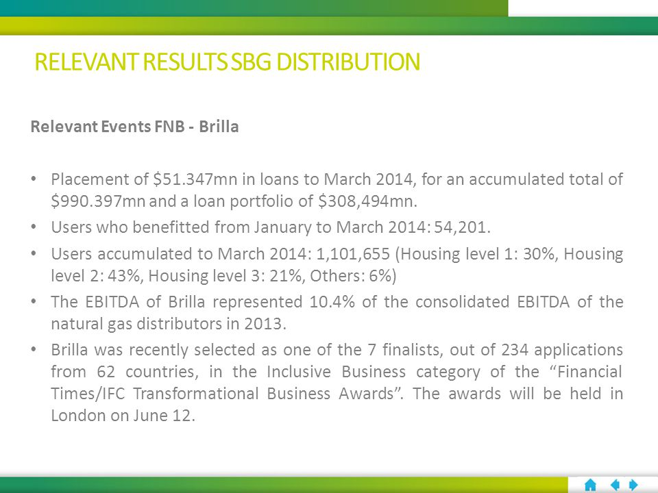 Relevant Events FNB - Brilla Placement of $51.347mn in loans to March 2014, for an accumulated total of $990.397mn and a loan portfolio of $308,494mn.