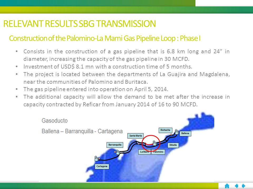 Construction of the Palomino-La Mami Gas Pipeline Loop : Phase I Consists in the construction of a gas pipeline that is 6.8 km long and 24 in diameter, increasing the capacity of the gas pipeline in 30 MCFD.