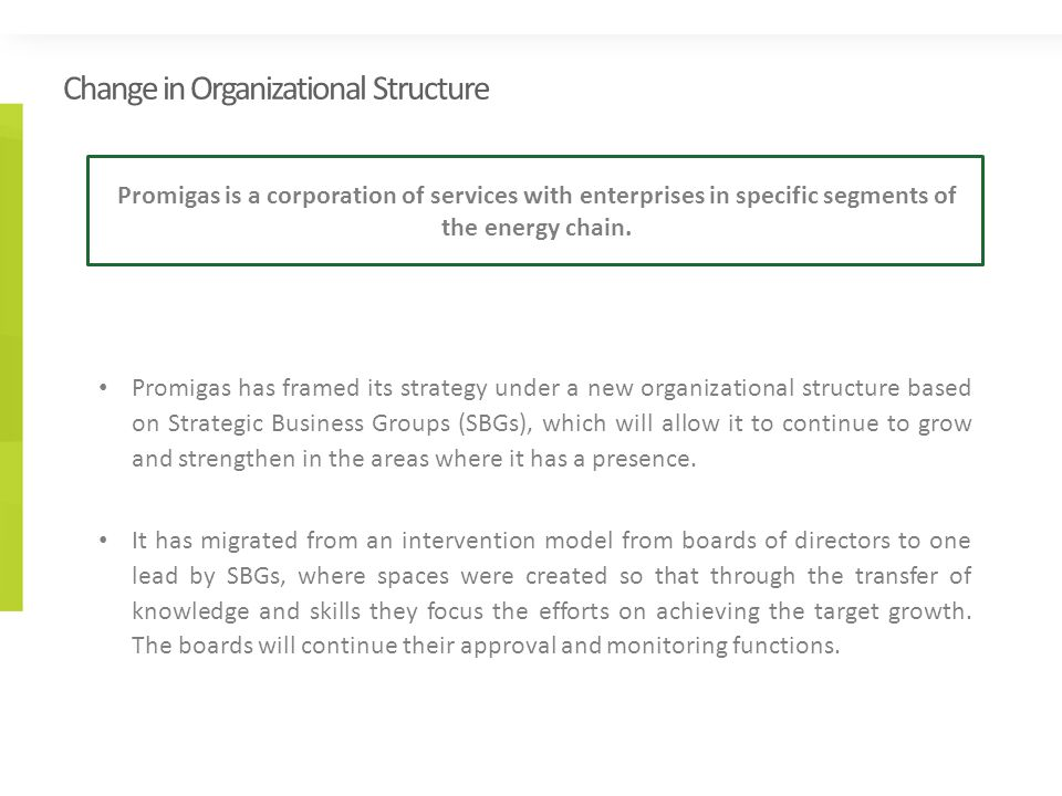 Change in Organizational Structure Promigas has framed its strategy under a new organizational structure based on Strategic Business Groups (SBGs), which will allow it to continue to grow and strengthen in the areas where it has a presence.