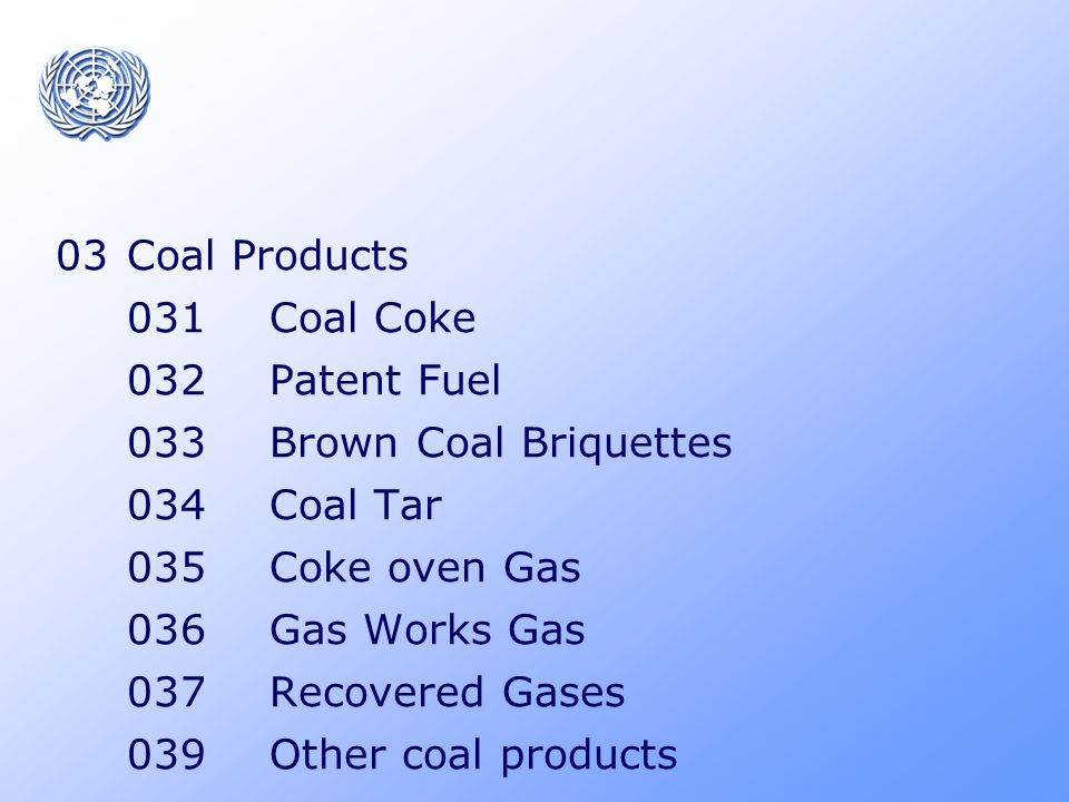 1 Peat and Peat products 11 Peat 12 Peat Products 121 Peat Briquettes 129 Other Peat products 2 Oil Shale/Oil sands