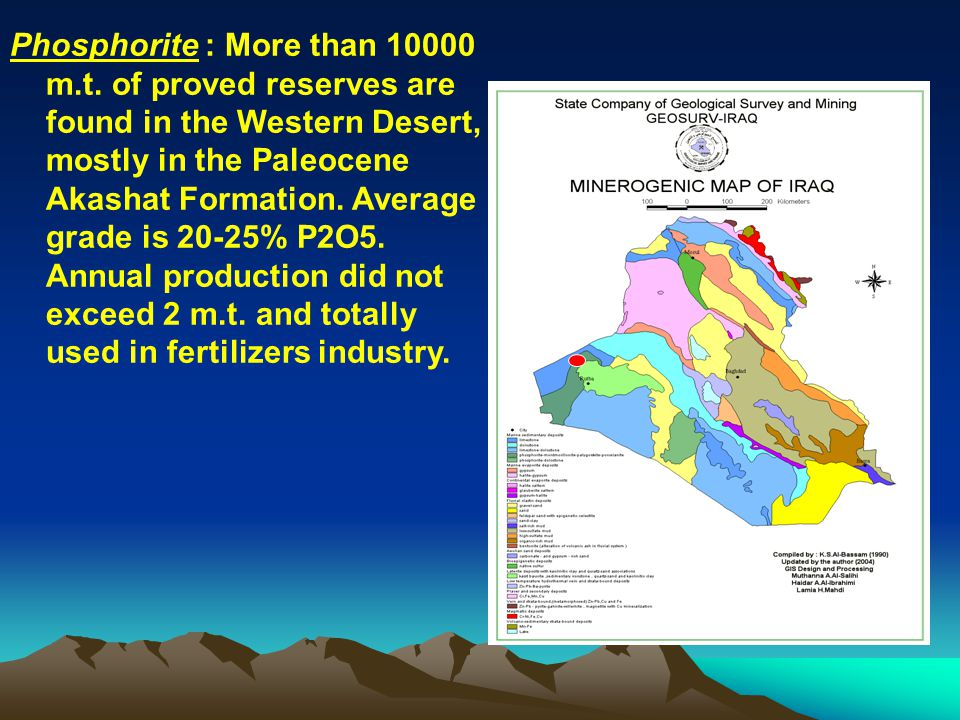 Barite: Barite: Numerous barite deposits are recorded in the Northern Thrust Zone of Kurdstan, mostly associated with Zn-Pb deposits.
