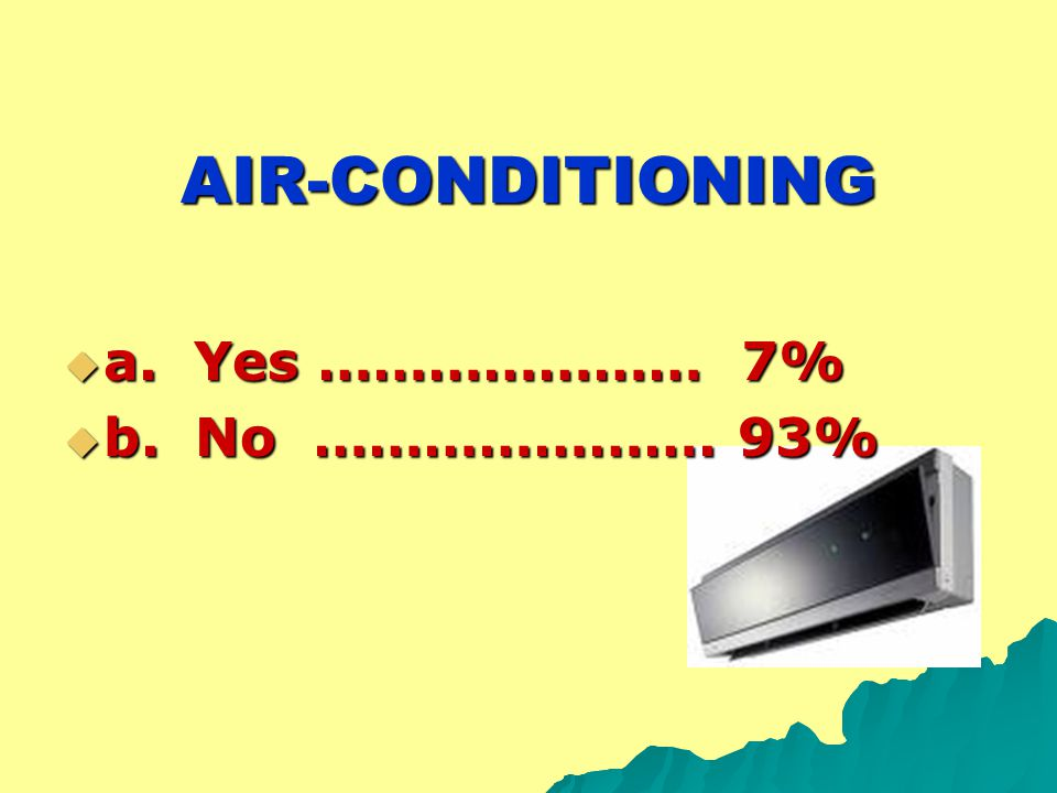 AIR-CONDITIONING  a. Yes ………………… 7%  b. No …………………. 93%