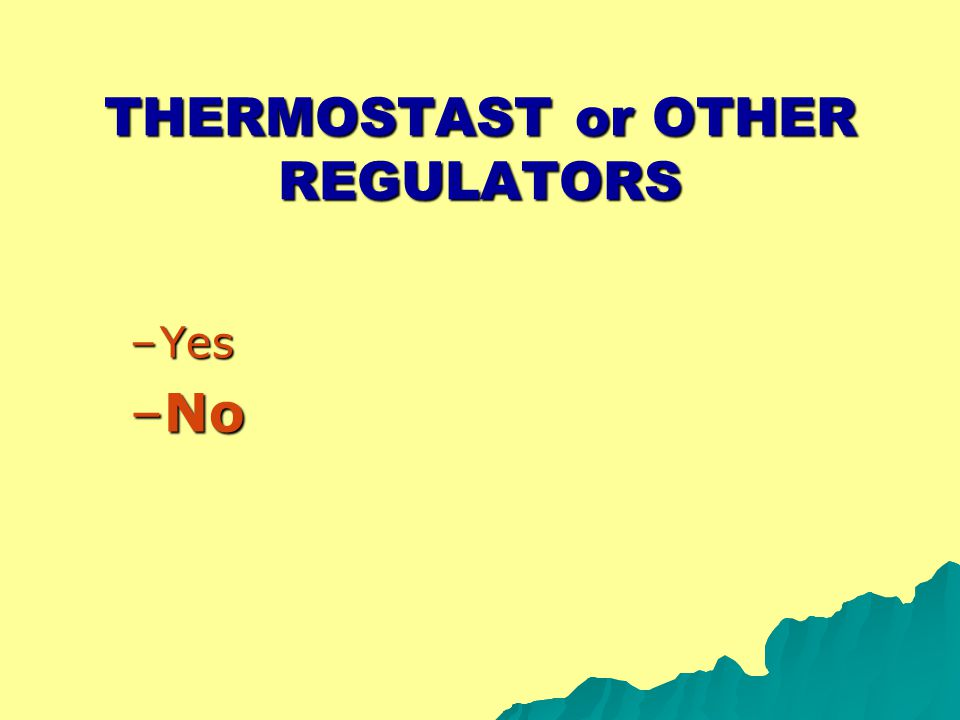 THERMOSTAST or OTHER REGULATORS –Yes –No