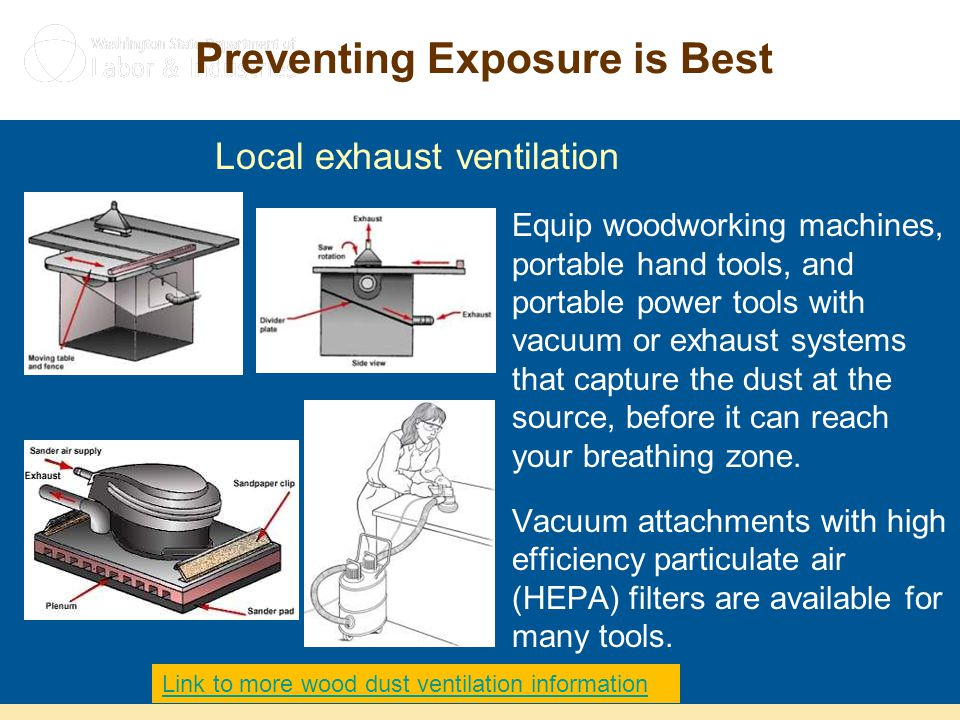 Preventing Exposure is Best Equip woodworking machines, portable hand tools, and portable power tools with vacuum or exhaust systems that capture the