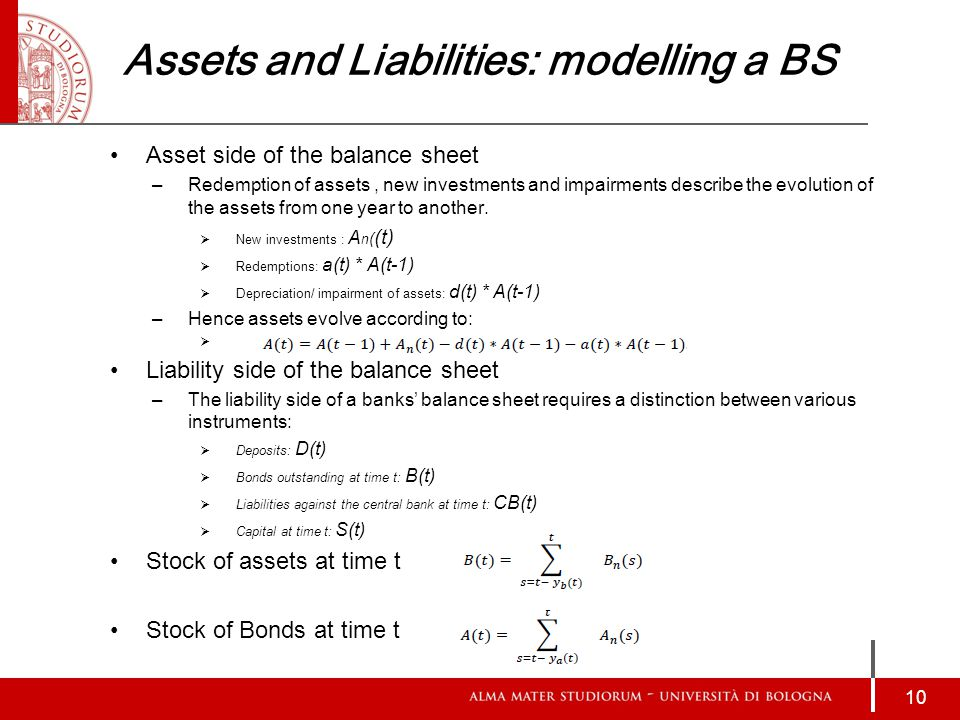 Assets and Liabilities: modelling a BS Asset side of the balance sheet –Redemption of assets, new investments and impairments describe the evolution of the assets from one year to another.