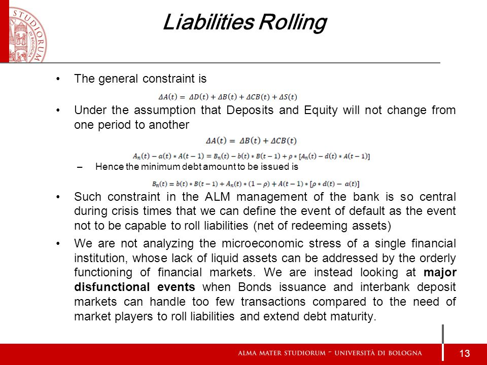 Liabilities Rolling The general constraint is Under the assumption that Deposits and Equity will not change from one period to another –Hence the minimum debt amount to be issued is Such constraint in the ALM management of the bank is so central during crisis times that we can define the event of default as the event not to be capable to roll liabilities (net of redeeming assets) We are not analyzing the microeconomic stress of a single financial institution, whose lack of liquid assets can be addressed by the orderly functioning of financial markets.