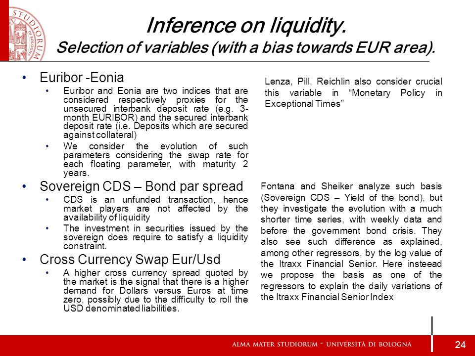 Inference on liquidity. Selection of variables (with a bias towards EUR area).