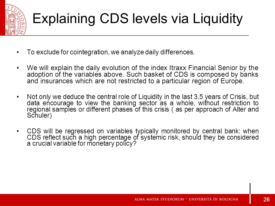 Explaining CDS levels via Liquidity To exclude for cointegration, we analyze daily differences.