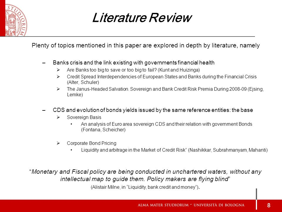 Literature Review Plenty of topics mentioned in this paper are explored in depth by literature, namely –Banks crisis and the link existing with governments financial health  Are Banks too big to save or too big to fail.