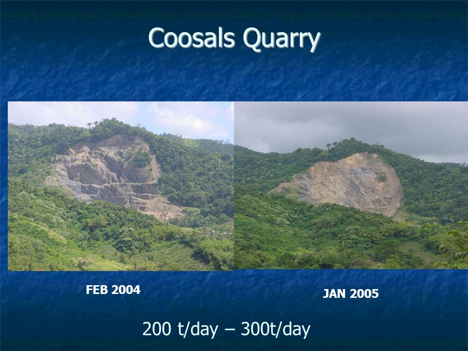 Coosals Quarry 200 t/day – 300t/day FEB 2004 JAN 2005