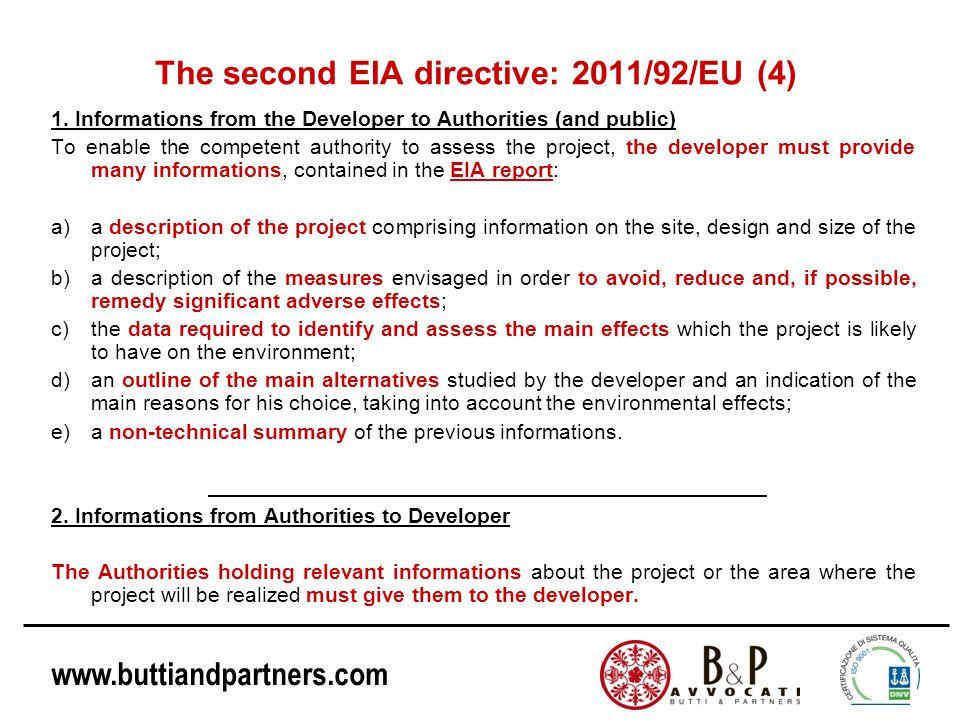 www.buttiandpartners.com The second EIA directive: 2011/92/EU (4) 1.