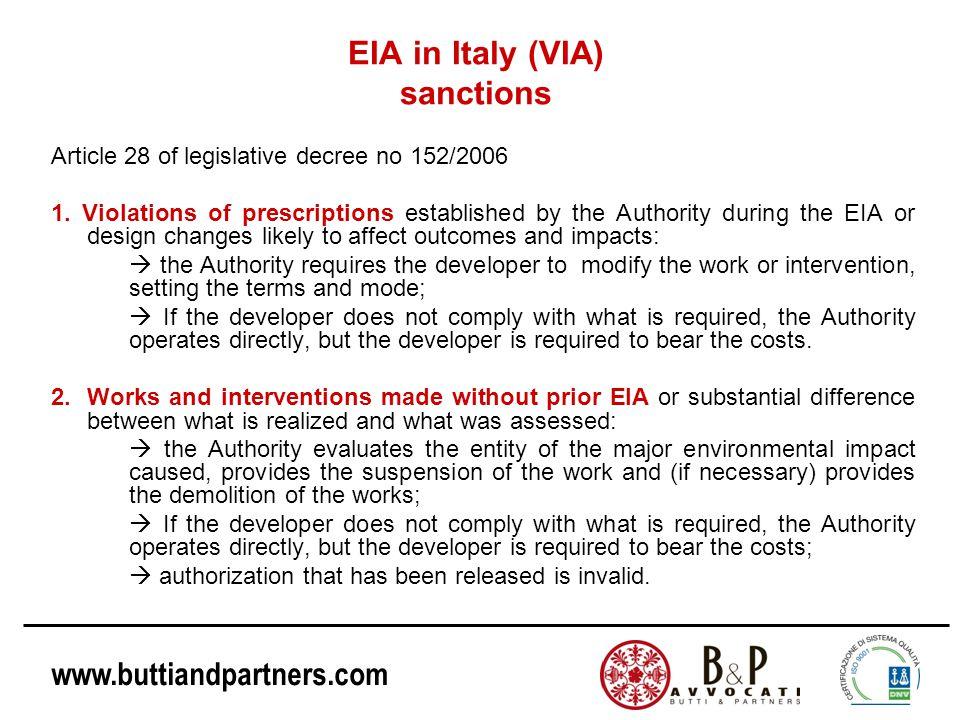 www.buttiandpartners.com EIA in Italy (VIA) sanctions Article 28 of legislative decree no 152/2006 1.