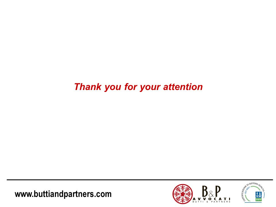 www.buttiandpartners.com Thank you for your attention