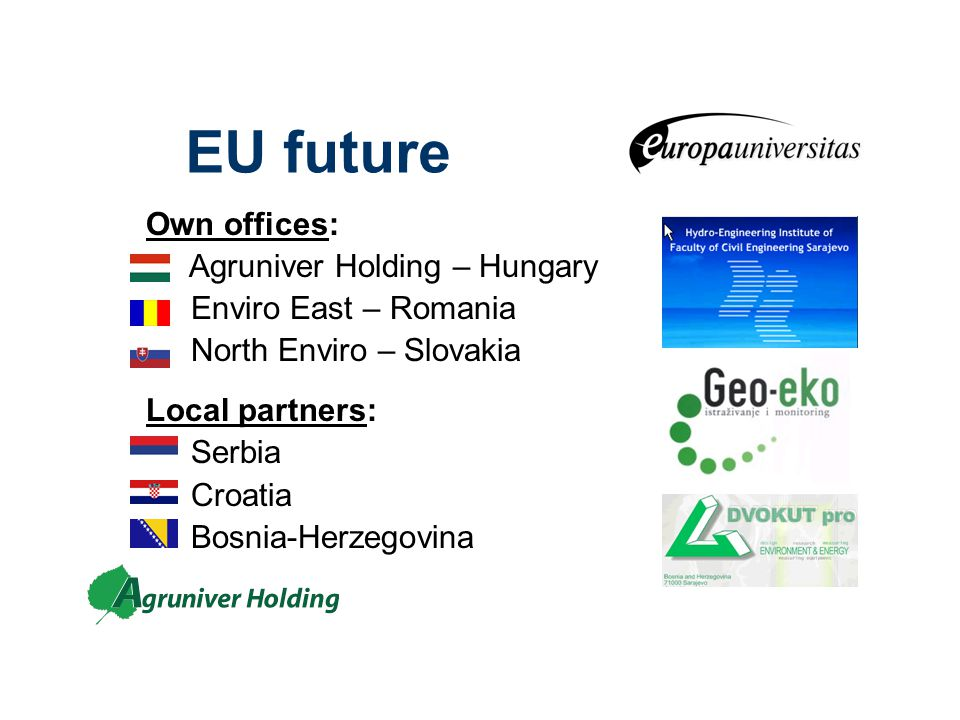 EU future Own offices: Agruniver Holding – Hungary Enviro East – Romania North Enviro – Slovakia Local partners: Serbia Croatia Bosnia-Herzegovina