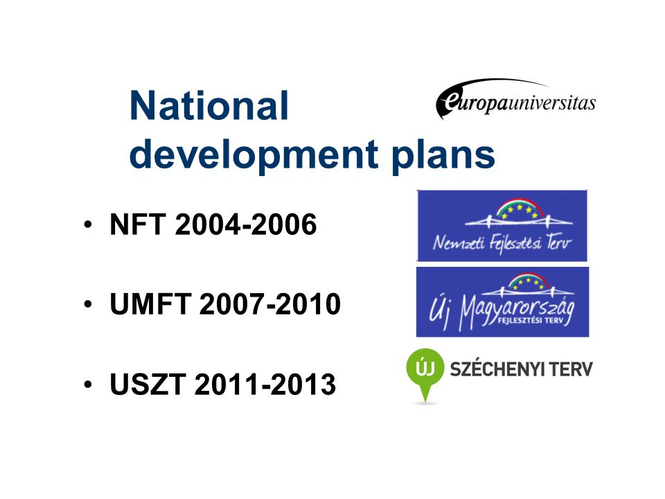 National development plans NFT 2004-2006 UMFT 2007-2010 USZT 2011-2013