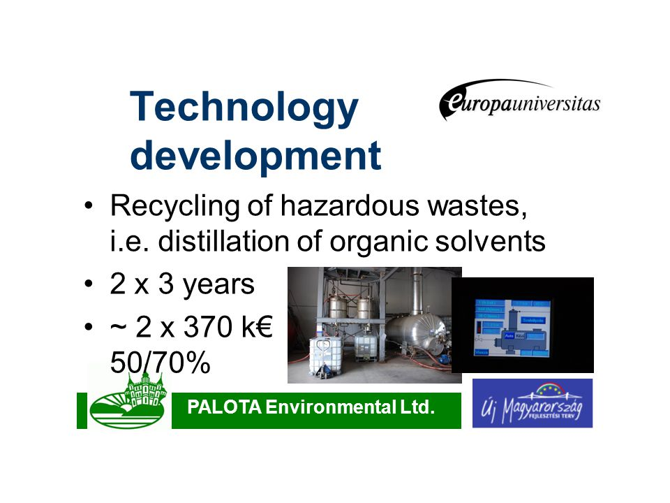 PALOTA Environmental Ltd. Technology development Recycling of hazardous wastes, i.e.