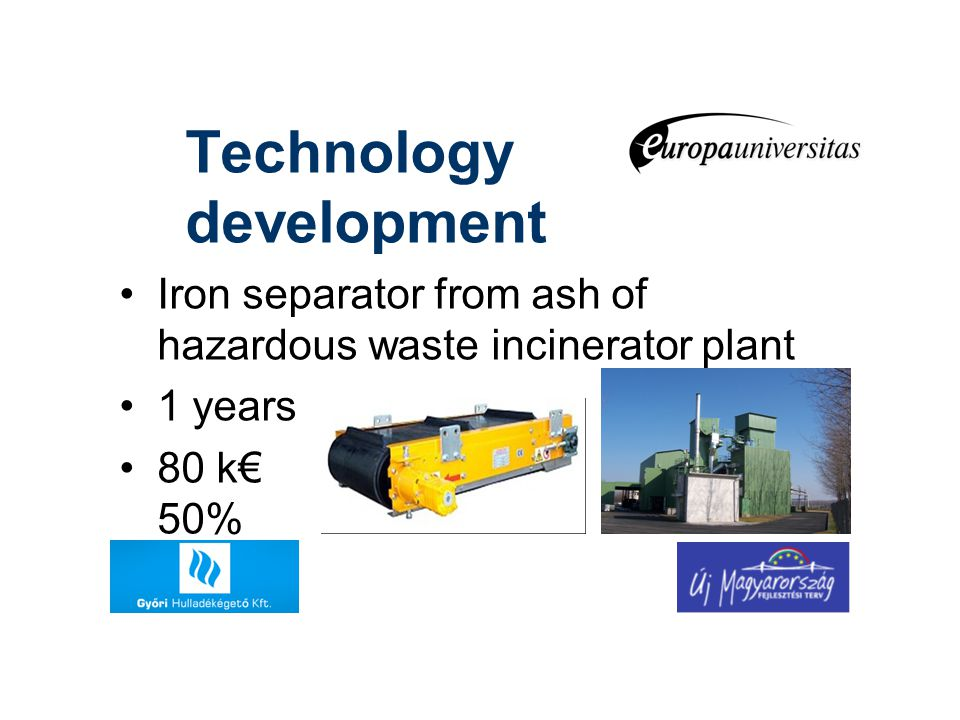 Technology development Iron separator from ash of hazardous waste incinerator plant 1 years 80 k€ 50%