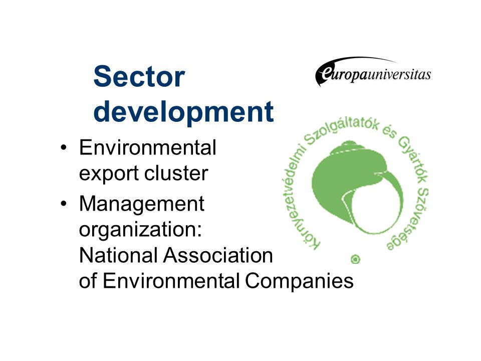Sector development Environmental export cluster Management organization: National Association of Environmental Companies